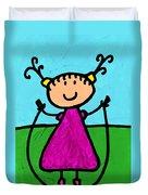 Happi Arte 7 - Girl On Jump Rope Art Duvet Cover by Sharon Cummings