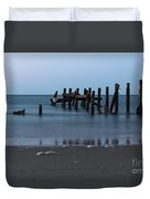 Happisburgh Beach Groynes Duvet Cover