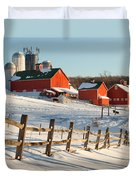 Happy Acres Farm Square Duvet Cover by Bill Wakeley