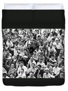 Happy Baseball Fans In The Bleachers At Yankee Stadium. Duvet Cover by Underwood Archives