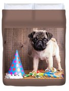 Happy Birthday Cute Pug Puppy Duvet Cover by Edward Fielding