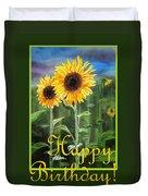 Happy Birthday Happy Sunflowers Couple Duvet Cover