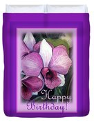 Happy Birthday Orchid Design Duvet Cover