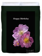 Happy Birthday Pink Roses Duvet Cover