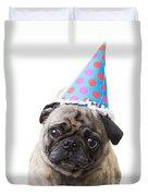 Happy Birthday Pug Card Duvet Cover
