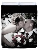Happy Bride And Groom Kissing Duvet Cover