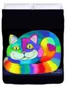 Happy Cat Dark Back Ground Duvet Cover