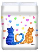 Happy Cats And Hearts Duvet Cover