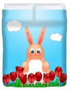 Happy Easter Bunny Rabbit On Field Of Tulips Flowers Duvet Cover