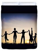 Happy Group Of People Friends Family Together Duvet Cover