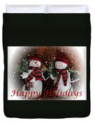 Happy Holidays - Christmas - Snowman Collection - Greeting Cards Duvet Cover