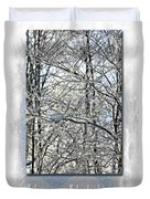 Happy Holidays Greeting - Icicles On Trees Duvet Cover