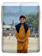 Happy Laughing Pathan Boy In Swat Valley Pakistan Duvet Cover