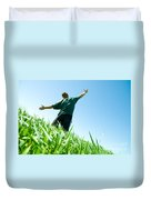 Happy Man On The Summer Field Duvet Cover