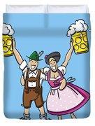 Happy Oktoberfest Couple Beer Duvet Cover