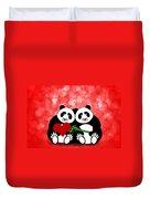 Happy Valentines Day Panda Couple Hearts Bokeh Duvet Cover