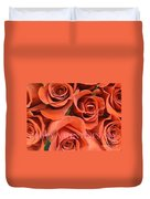 Happy Valentine's Day Pink Lettering On Orange Roses Duvet Cover