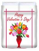 Happy Valentines Tulip Bouquet Duvet Cover