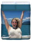 Happy Woman On Holiday  Duvet Cover
