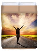 Happy Woman Standing On Long Road At Sunset Duvet Cover