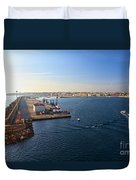 harbor in Porto Torres Duvet Cover