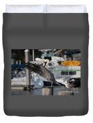 Harbor Pelican And Gull Duvet Cover