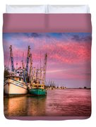 Harbor Sunset Duvet Cover by Debra and Dave Vanderlaan