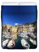 Harbor With Fishing Boats Duvet Cover
