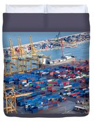 Harbor With Lots Of Cargo Duvet Cover