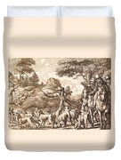 Hare Hunting, Engraved By Wenceslaus Duvet Cover