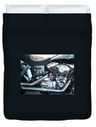 Harley Black And Silver Sideview Duvet Cover