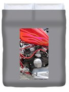 Harley Close-up Pink And Red Flames Duvet Cover