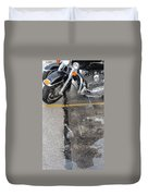 Harley Close-up Rain Reflections Tall Duvet Cover