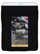 Harley Engine Close-up Yellow Line Duvet Cover