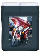 Harley Red W Orange Flames Duvet Cover