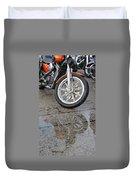 Harley Reflection In Rain  Duvet Cover