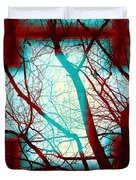 Harmonious Colors - Red White Turquoise Duvet Cover