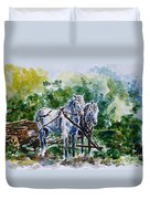 Harnessed Horses Duvet Cover