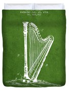 Harp Music Instrument Patent From 1901 - Green Duvet Cover
