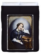 Harriet Beecher Stowe (1811-1896). American Abolitionist And Writer. Oil Over A Daguerrotype, C1852 Duvet Cover