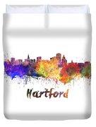 Hartford Skyline In Watercolor Duvet Cover