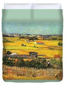Harvest At La Crau With Montmajour In The Background Duvet Cover by Vincent Van Gogh