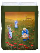 Harvesting Poppies In Tuscany Duvet Cover