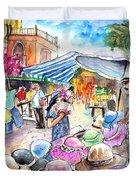 Hat Shopping At Turre Market Duvet Cover