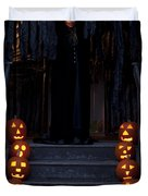 Haunted House With Lit Pumpkins And Demon Duvet Cover