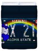 Hawaii License Plate Duvet Cover