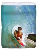 Hawaii, Maui, Makena - Big Beach, Boogie Boarder Riding Barrel Of Beautiful Wave Along Shore. Duvet Cover