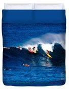 Hawaii Oahu Waimea Bay Surfers Duvet Cover by Anonymous