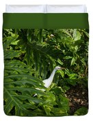 Hawaiian Garden Visitor - A Bright White Egret In The Lush Greenery Duvet Cover