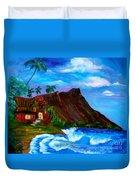 Hawaiian Homestead At Diamond Head Duvet Cover